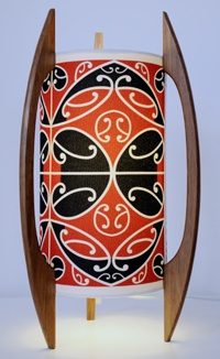 Borrowed Earth Kura Gallery Maori Art Design New Zealand Kowhaiwhai Table Lamp Rimu Fabric