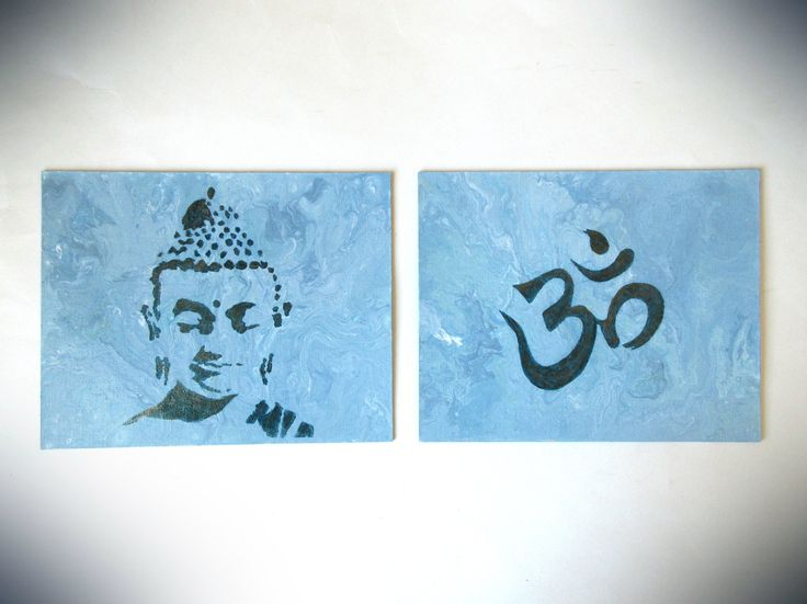 Original Modern Painting on Canvas Board Abstract Buddha and Ohm Sign Spiritual Meditation 8 X 20 Yoga Painting Buddha Art Pouring Acrylic