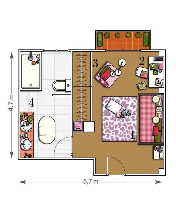 70 best PLANOS CASA images on Pinterest House blueprints, House - plan petite maison 70 m2