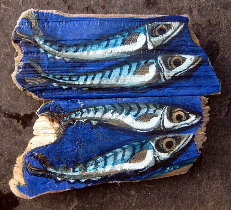 Original Paintings On Driftwood - Fish & Fins
