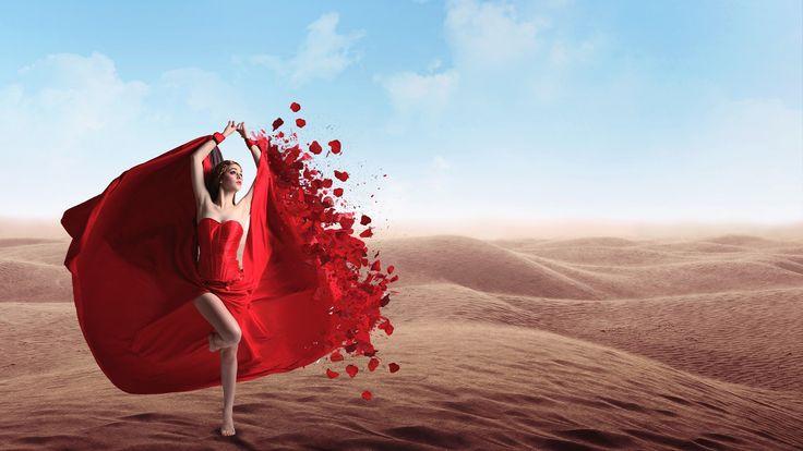 Exquisite-happy-girl-in-red-dress.
