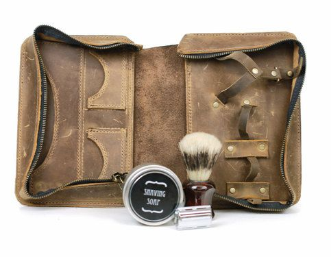 Men's Shaving Kit - Wet Shaving Toiletry Bag - Vintage Style Shaving Case  The absolute necessity for any man who loves wet shaving.  Our signature design, inspired by the old vintage shaving cases from the 50's! Hand made with two different colours of rich oil tanned leather - light and dark..
