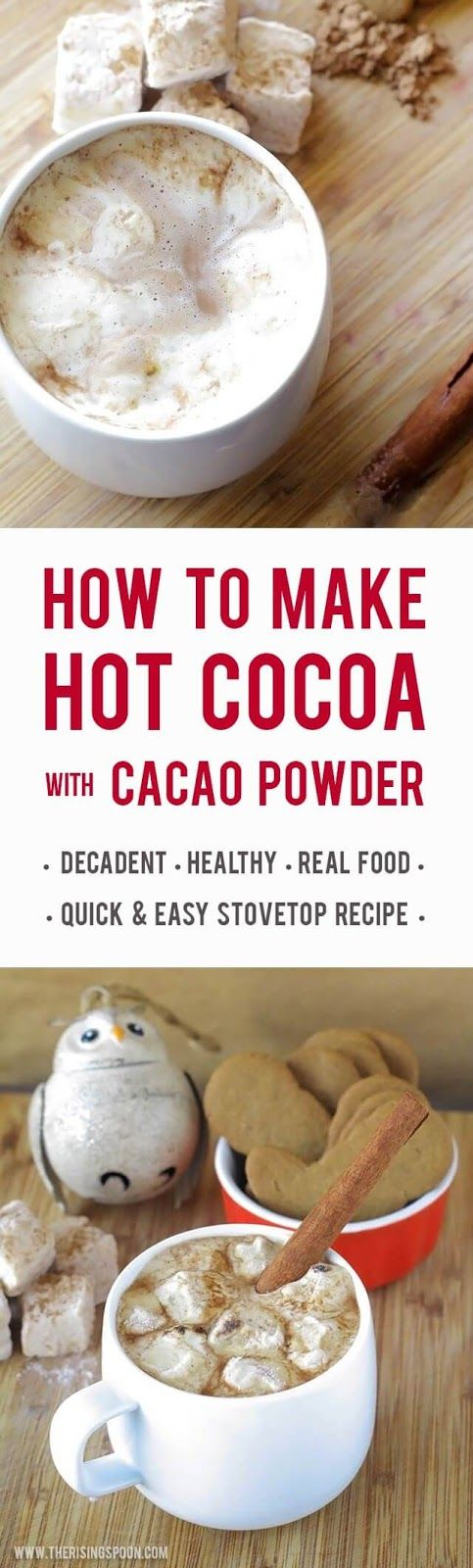 Learn how to make a decadent & healthy hot cocoa recipe on your stove-top in minutes using cacao powder (or unsweetened cocoa powder), cinnamon powder, cayenne pepper, sea salt, and your favorite sweetener + milk (dairy or dairy-free). Once you make homemade hot chocolate you'll never want to use the store mixes again. | real food recipe | vegan | paleo | gluten-free | dairy-free |