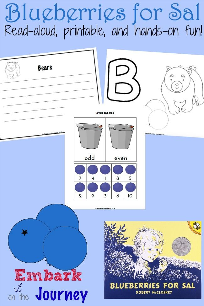 Blueberries for Sal: A read-aloud, a free printable, and a collection of hands-on activities! | embarkonthejourney.com