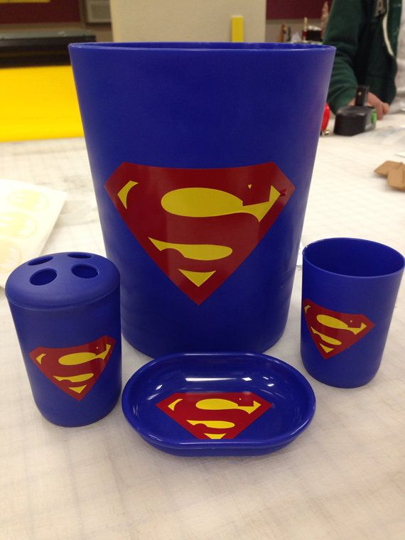 Superman Bathroom Accessory Set Trash Can Soap Holder By