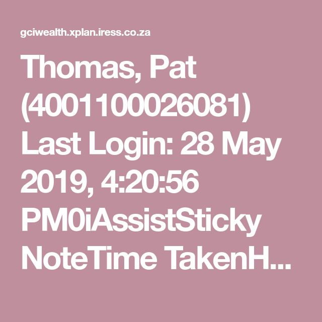 Thomas Pat 4001100026081 Last Login 28 May 2019 4 20 56