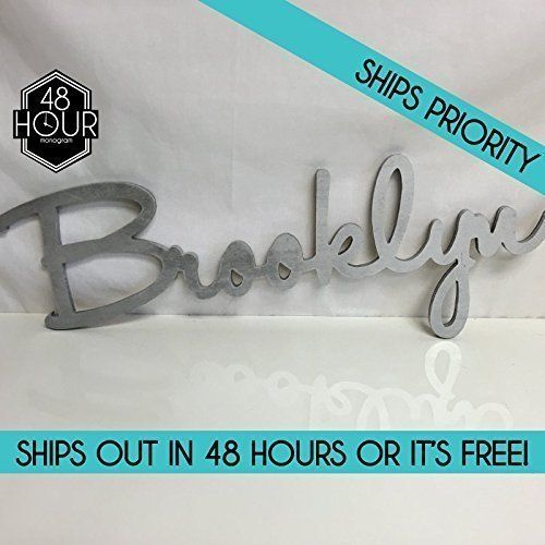 Custom Personalized Wooden Name Sign 824 tall  Brooklyn Font Letters Baby Name Plaque PAINTED nursery name nursery decor wooden wall art above a crib -- Visit the image link more details. (Note:Amazon affiliate link)
