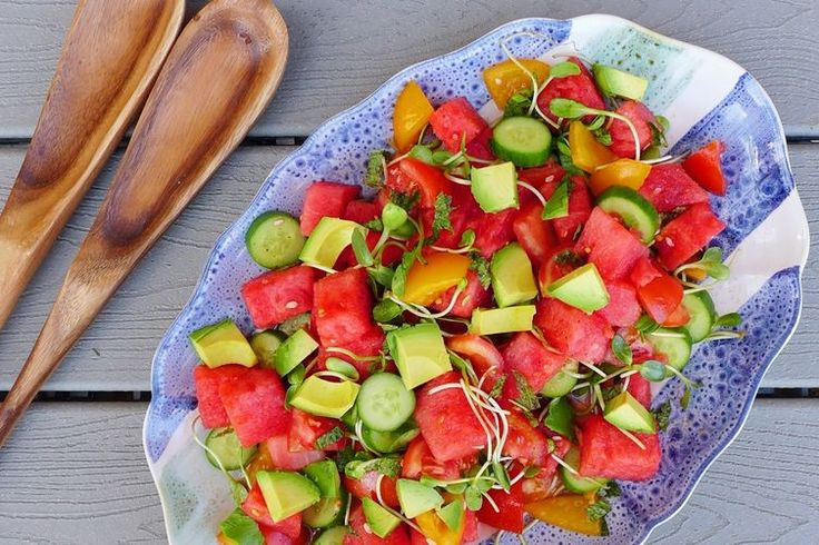 Watermelon Tomato Salad, For Picnicking (watermelon, toms, cucumbers, avocado, fresh mint, baby greens, evoo, salt, pepper)