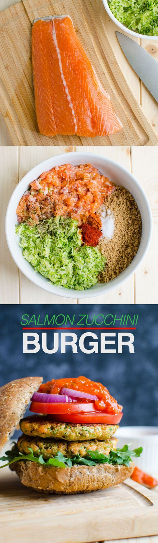 Healthy salmon burger prepared using all healthy ingredients such as fresh salmon, zucchini, egg white, whole wheat bread crumbs etc etc...