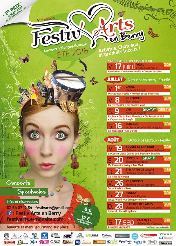 Festiv'Arts-en-Berry #4, Écueillé, Levroux, Reuilly, Valençay, Vendredi 17 Juin 2016 > Samedi 17 Septembre 2016