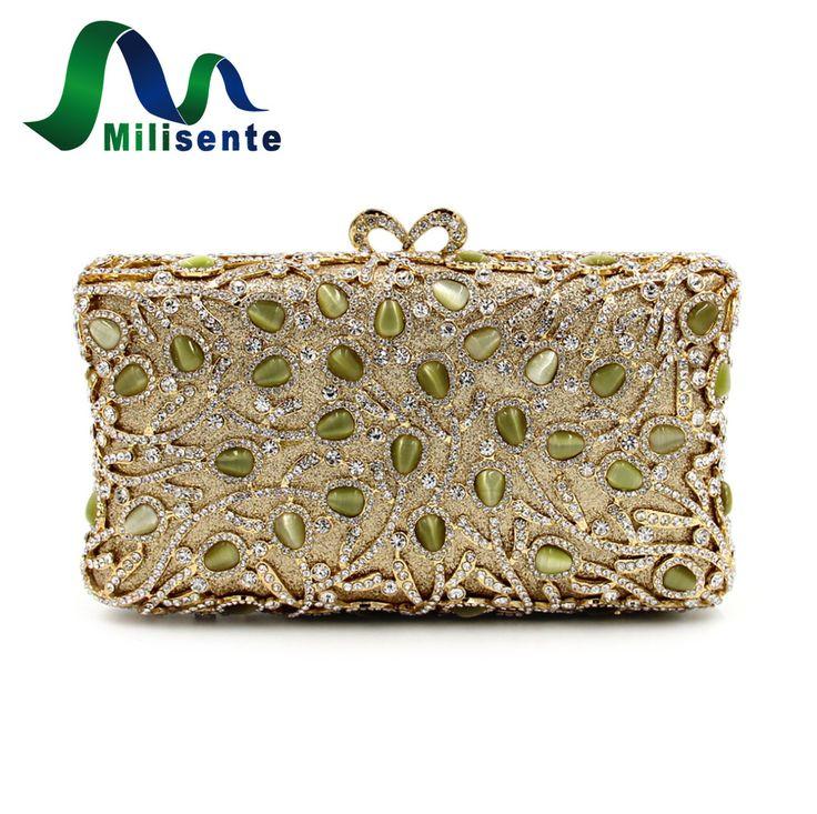 Milisente Vintage Box Clutches Women Day Clutch Luxury Crystal Bags Gold Diamond Lady Evening Bag Small Wedding Purse