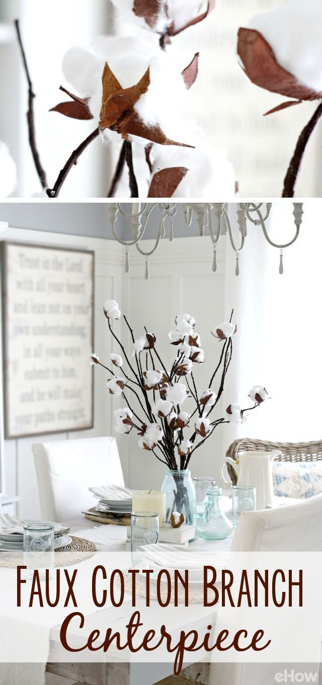 Don't you just love how this cotton branch centerpiece brings a rustic, but warm accent to your home? Bundle them up in a tall vase, arrange them in bouquets with fresh cut wild-flowers or throw in stacks of golden wheat for autumn and they are that easy!  http://www.ehow.com/how_12341078_make-faux-cotton-branch-centerpiece.html?utm_source=pinterest.com&utm_medium=referral&utm_content=freestyle&utm_campaign=fanpage