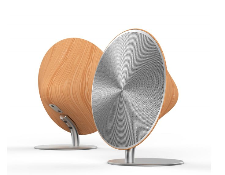 Wood And aluminum speakers.