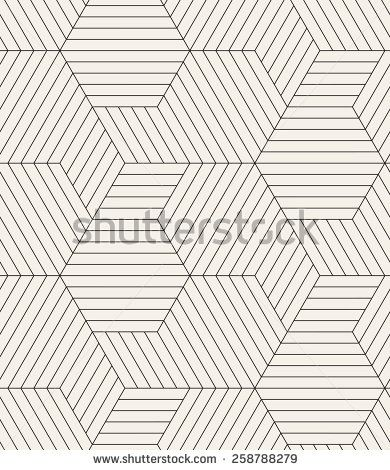 Vector seamless pattern. Modern stylish texture. Repeating geometric tiles. Linear grid with striped rhombuses which form hexagons. Contemporary graphic design. - stock vector