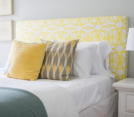 Headboard: In the market for a new one? If your ceiling is a standard height (8 to 10 feet), look for a style that's 45 to 54 inches from the floor to the top. You want enough height to be able to lean back, but there should be no more than one foot of headboard above the tallest pillow; otherwise any art will be pushed too high. An upholstered version adds a nice layer of texture and is the most comfortable type for sitting up in bed.