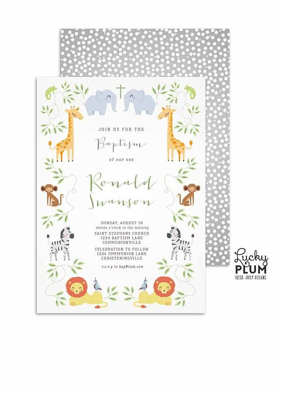 noahs ark baptism invitation jungle