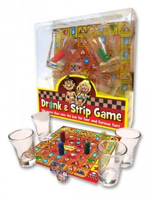Drink and Strip - Drink and Strip the game that sets the bar for fast and furious. Board game, 4 shot glasses, 4 different colored pieces, 2 dice. 2 to 4 adult players, drinking game. Drink and Strip Game from Ozze Creations.
