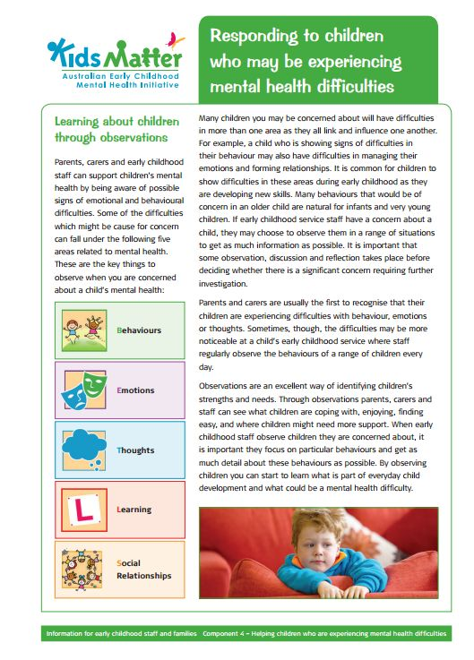 Top tips: Responding to children who may be experiencing mental health difficulties. Information sheets for families and ECEC staff.