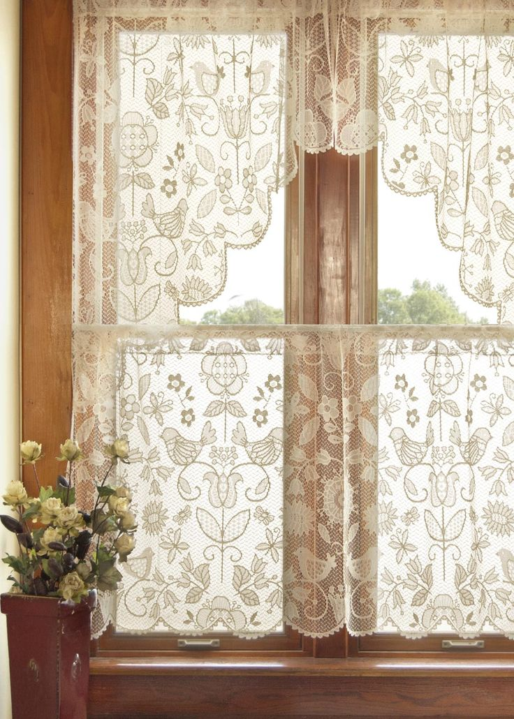 Heritage Lace folk art lace curtains.  LUV!
