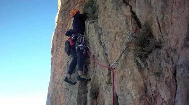 Climbing the long route 'Diedre Audoubert' (400m/12pitches) in Montrebei, Catalonia Wall.