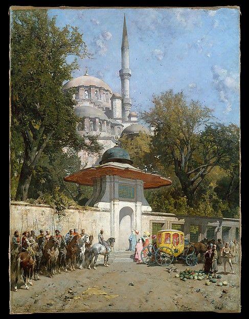 Alberto Pasini- (Yeni Cami) Yeni Valide Mosque at Eminonu, Istanbul 1782