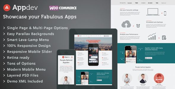 Appdev – Mobile App Showcase WordPress Responsive Theme