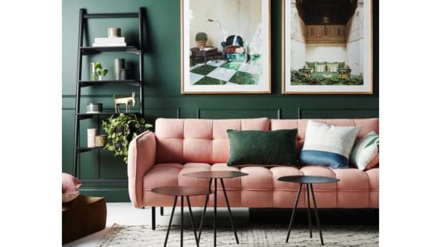 Dark Green And Pink Living Room Green Walls Living Room Living Room Green Retro Living Rooms