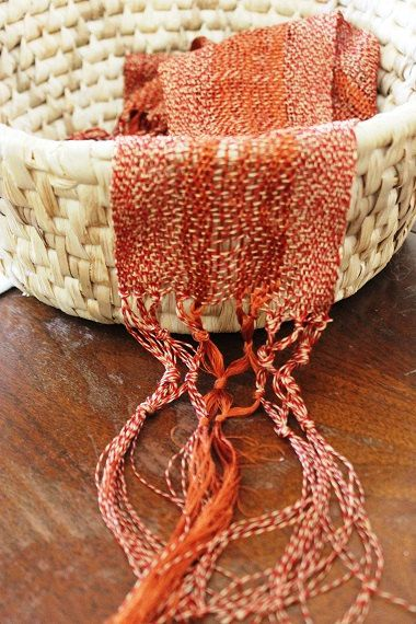 Silk scarf, hand woven, fasion scarf, red silk scarf, Hand soun yarn, Silk, red, gold