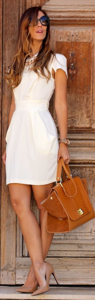 Chic White Back Bowknot Tailored Dress