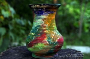 lively colored flower vase - hand painted clay pots