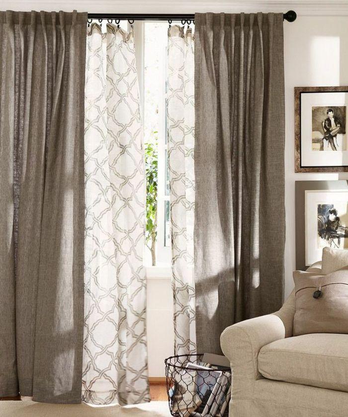 rideaux occultants gris dans le salon lgant intrieur gris blanc - Rideaux Salon