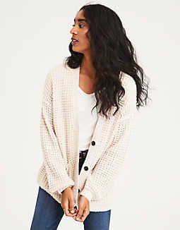 f4b3d64c278a7f AE Slouchy Waffle Cardigan Sweater