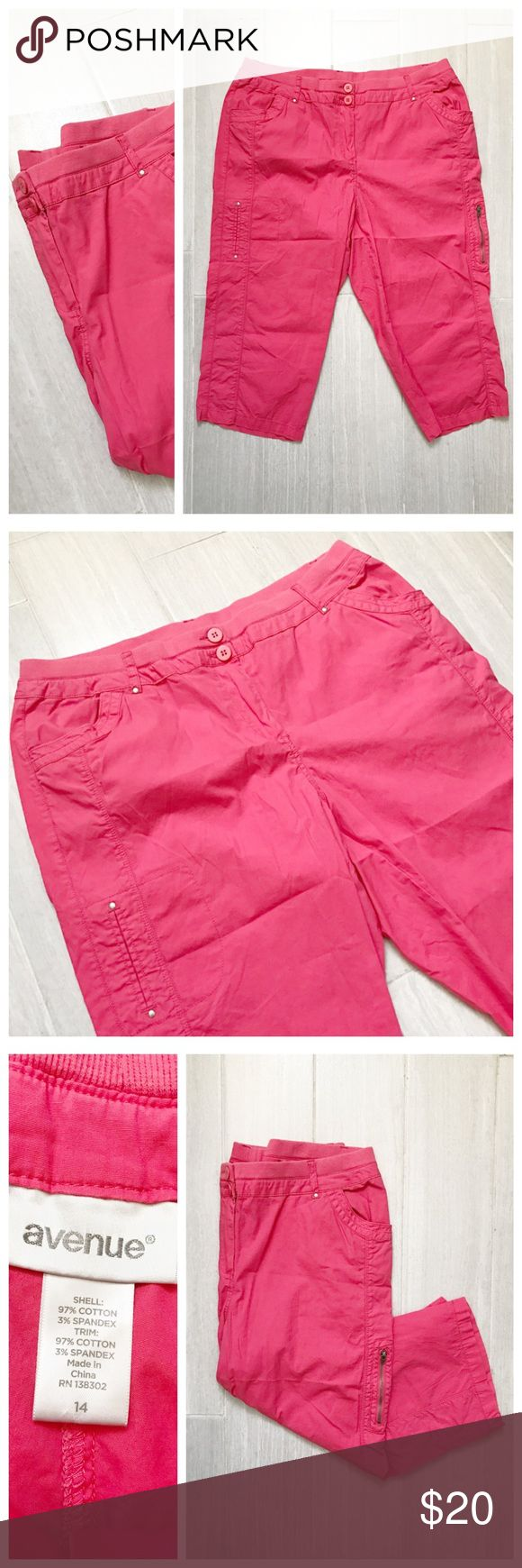 Coral Capri Pants [ plus size ] Coral pinkish color (a little lighter in person). From Avenue size 14. Stretch to waist band. BUNDLES 20% OFF  Avenue Pants Capris