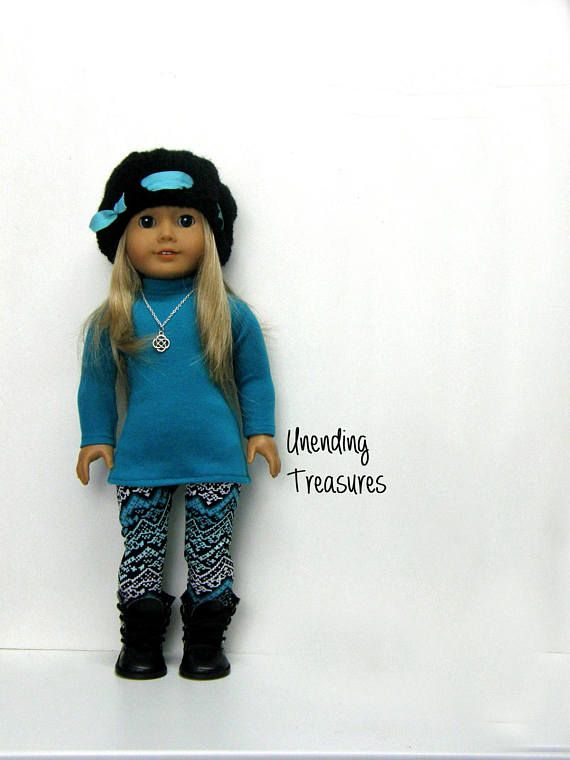 ALL OF MY ITEMS ARE PRICED/PURCHASED SEPARATELY, SO THAT YOU CAN EASILY MIX-N-MATCH This MIX N MATCH outfit was made to fit your 18 inch doll. 1. The teal turtleneck tunic top is made with a knit fabric. It opens/closes in the back with hook and loop tape. A modified Liberty Jane pattern was used. 2. The Aztec print leggings are made with a knit fabric. The waist is sewn on to fold over elastic for a smooth fit. A modified Liberty Jane pattern was used. 3. The hand knitted cloch...