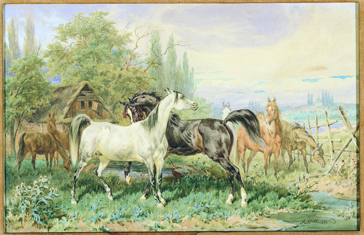 The Dzieduszycki Stable - by Juliusz Kossak; 1874; water color on paper; donated by Mme. Ganna Walska, 1954.