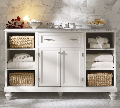 Classic Modular Single Wide Sink Console with Doors & Cubby | Pottery Barn-don't care for the marble top but width is perfect!