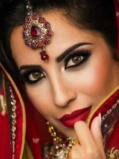 Trucco arabo con labbra rosse