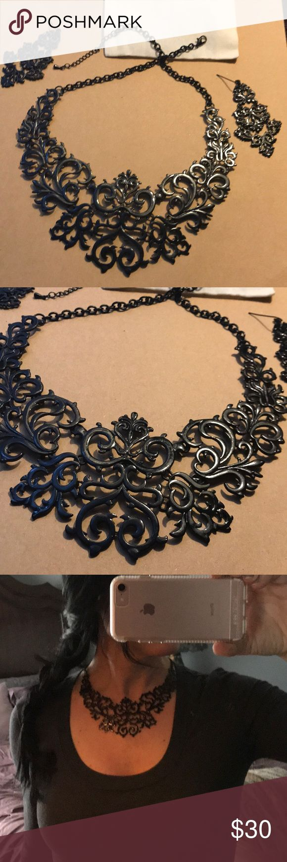 Choker-bib necklace Black enamel over metal gothic Fleur' style bib adjustable necklace, with earrings. Beautiful new cond. Jewelry Necklaces