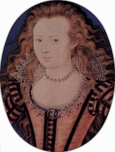 """1611: Elizabeth of Bohemia, miniature by Hilliard.  Note: drop earrings at least 3"""" long, hang to just above her necklace."""