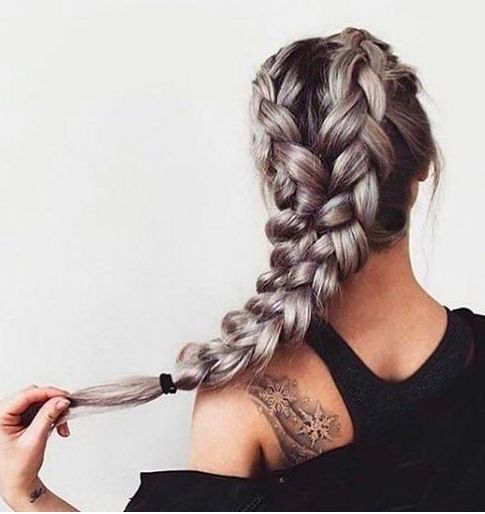 double Dutch braids | dark silver color | long hair | hairstyles | shoulder tats