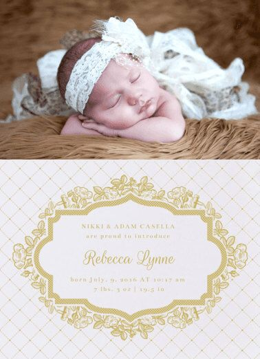 Lattice and Lace Girl Birth Announcement. Baby. Design Fee by PartyGlamourShopBaby on Etsy https://www.etsy.com/listing/262523021/lattice-and-lace-girl-birth-announcement