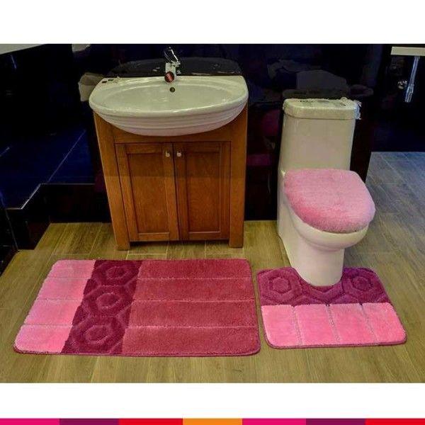 3 Pcs Bathroom Mat Set Pink Online Ping In Stan