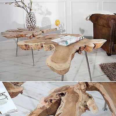 Exklusiver Couchtisch WILD 90 Cm Baumscheibe Teakholz Tisch Wohnzimmer Massiv