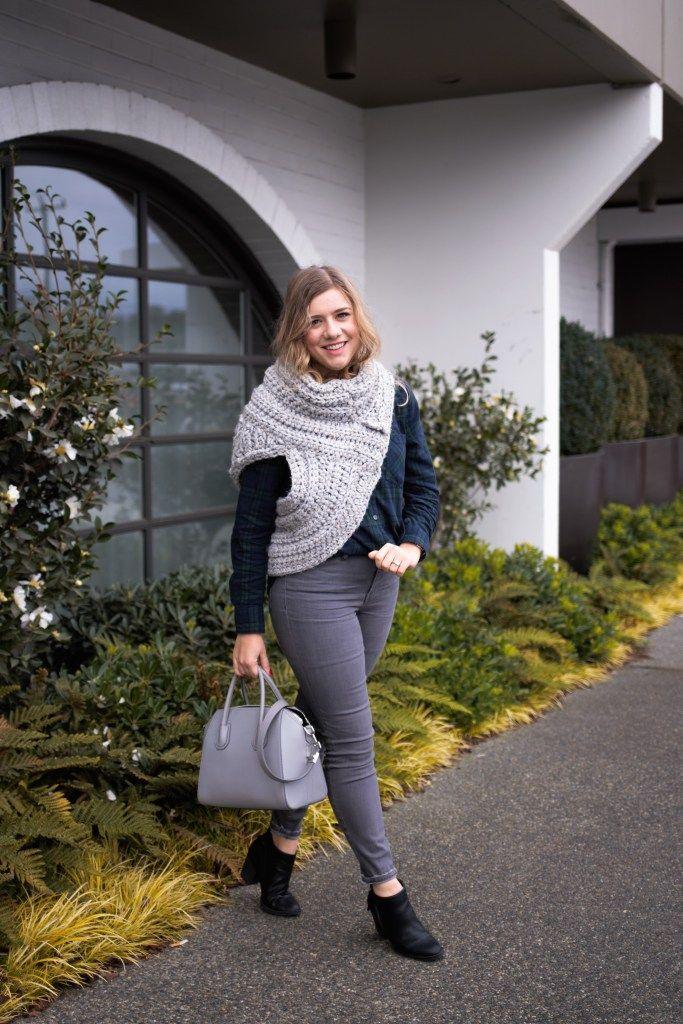 thanksgiving outfit ideas - old navy flannel - cozy knit vest - katnis huntress vest