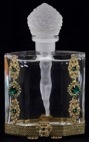 HOFFMAN GLASS PERFUME BOTTLE....NUDE WOMAN AS A STOPPER...<3