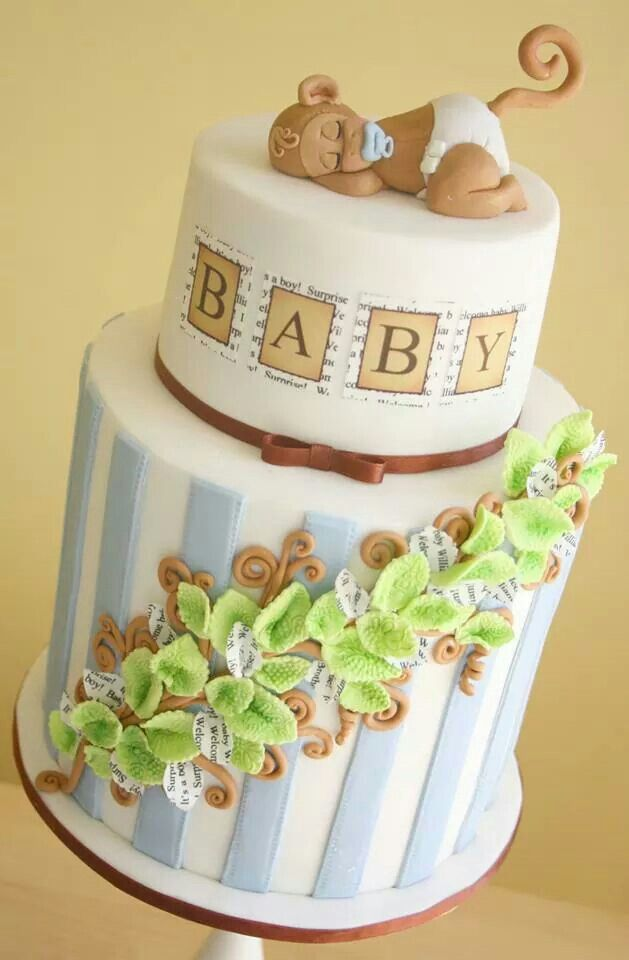 17 best images about baby shower cakes on pinterest cute cakes giraffe cakes and cute babies - Monkey baby shower cakes for boys ...