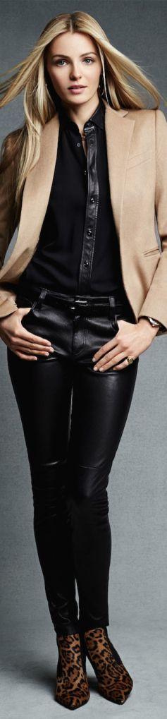 Ralph Lauren Pre-Fall 2014 Black Label Stretch-Leather Abbey Pant 3