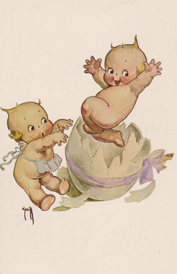KEWPIE, KEWPIES ILLUSTRATED Vintage Postcard, Breaking Out of Their Shell, Egg with Ribbon in a Bow, 1970s, the Ashers by AgnesOfBohemia, $3.99