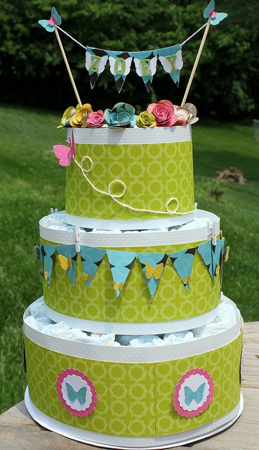 Green Soiree Diaper Cake by somethingfromcassie, via Flickr