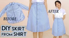DIY Turn Old Shirt Into Skirt | Button Front A Line Midi Skirt | Clothes Transformation Upcycle - YouTube